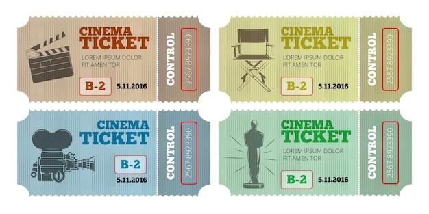 Bilety do kina ustawione na białym tle