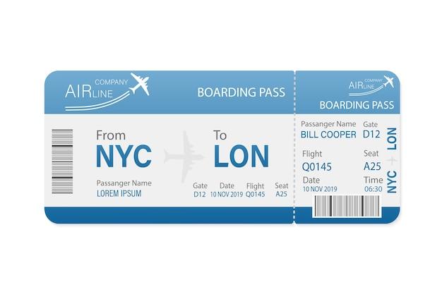 Bilety lotnicze w formie papierowej. szablon. biznes . .