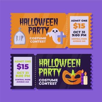 Bilety na halloween w płaskiej konstrukcji