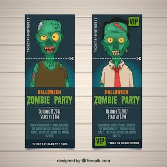 Bilety na halloween z przerażającym zombie