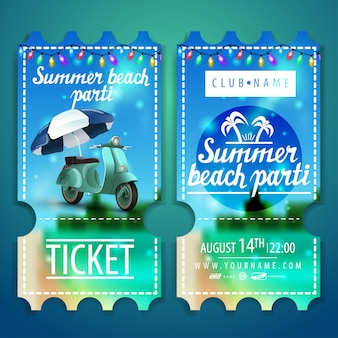Bilety na imprezę plażową z pięknym letnim krajobrazem