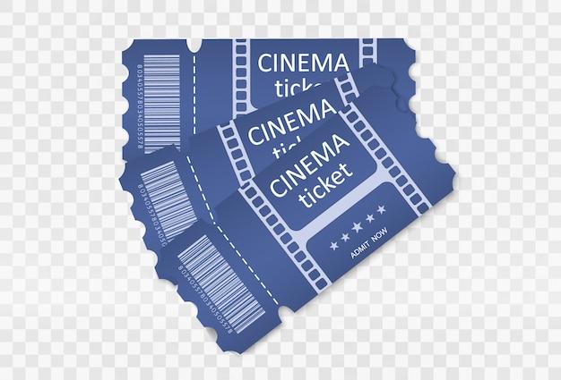 Bilety na udział w wydarzeniu lub filmie na przezroczystym tle. piękne, nowoczesne ulotki podróżne.