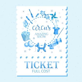 Bilety na wydarzenie na pokaz magii w stylu kreskówki z flagami namiotu cyrkowego i tekstem edytowalnym