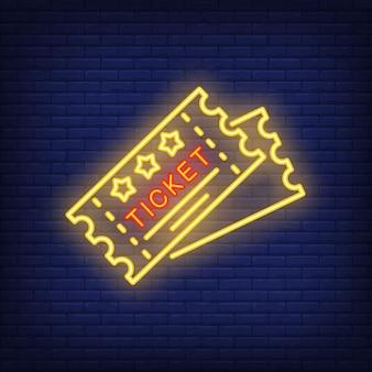 Bilety neon ikona