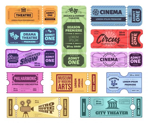Bilety w stylu retro. cyrk, kino i teatr przyjmują jeden bilet. vintage kupon wstępu, koncert i bilety do kina nocnego. muzeum, przepustka filharmoniczna. kolorowe kupony rozrywkowe