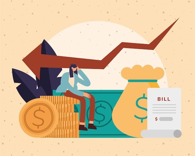 Bill papierowa torba monety i kobieta kreskówka pieniądze finansowe biznes bankowość handel i ilustracja motyw rynku