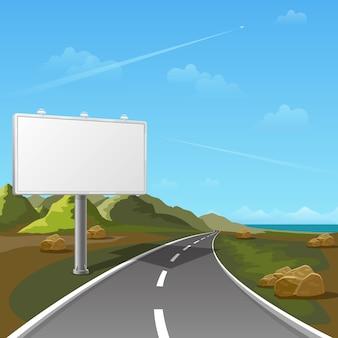 Billboard drogowy z tłem krajobrazu. billboard reklamowy, reklama pusta, billboard zewnętrzny, ilustracja billboardu plakatowego