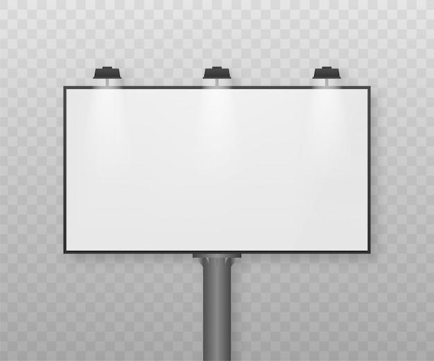 Billboard na jasnym tle. pusty biały plakat poziomy szablon. szablon do marketingu. ilustracja.