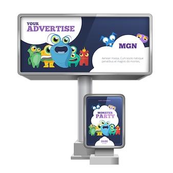 Billboard reklamowy zewnętrzny i citylight z projektem szablonu. artykuły papiernicze reklamowe, marketing komercyjny. zestaw ilustracji wektorowych