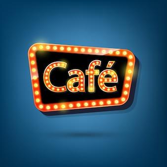 Billboard z żarówkami elektrycznymi, lekka rama retro z jasnym tekstem kawiarni.