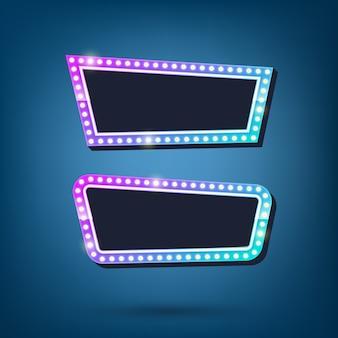 Billboard żarówki elektryczne retro światło obramia kolorową ilustrację