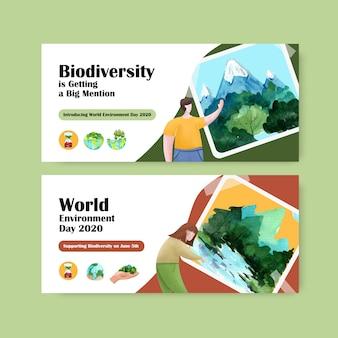 Billboardu szablonu projekt dla światowego dnia środowiska. oszczędzanie ziemi planety światowy pojęcie z ekologii akwareli przyjaznym wektorem