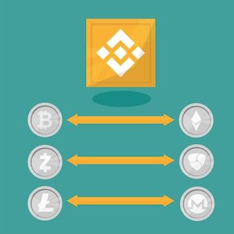 Binance blockchain - technologia wymiany kryptowalut. ilustracja wektorowa w stylu płaska konstrukcja. pomysł na biznes