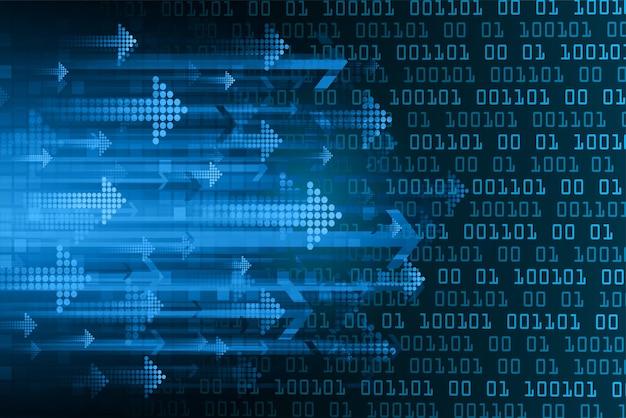 Binarna płytka drukowana przyszłości technologia strzałka piksel wektor
