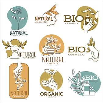 Bio i naturalne produkty organiczne do pielęgnacji skóry oraz pielęgnacji i naprawy włosów. na białym tle etykiety z portretem kobiet, tubki z kremami i balsamami oraz ozdobne gałązki kwiatowe. wektor w stylu płaskiej
