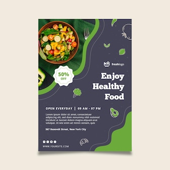 Bio i plakat zdrowej żywności ze zdjęciem