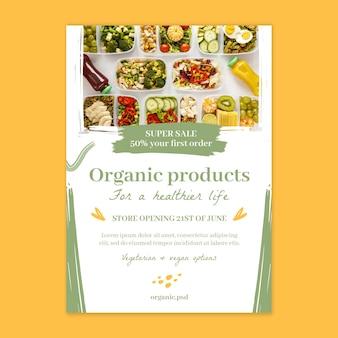 Bio i szablon plakatu zdrowej żywności