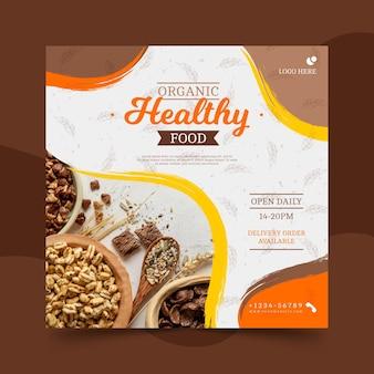 Bio i zdrowa żywność kwadratowa ulotka szablon