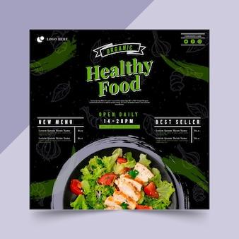 Bio i zdrowa żywność kwadratowa ulotka