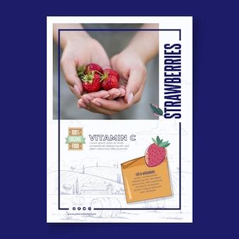 Bio i zdrowe truskawki plakat szablon