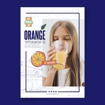 Bio i zdrowy pomarańczowy plakat szablon