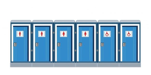 Bio mobilne toalety jedna biała.