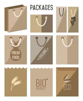 Bio pack, eco, ikona.