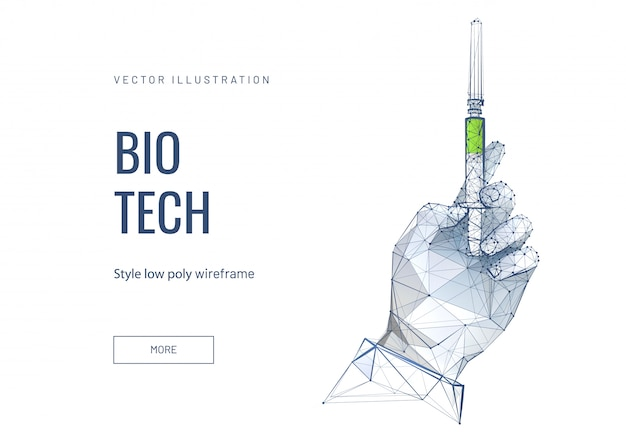 Bio tech, apteka low poly wireframe template