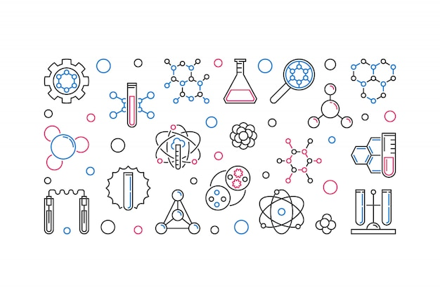 Biochemia liniowa koncepcja ikona ilustracja
