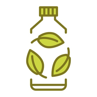 Biodegradowalny plastikowy znak bio plastikowa butelka z zielonymi liśćmi odwraca się do koncepcji roślin