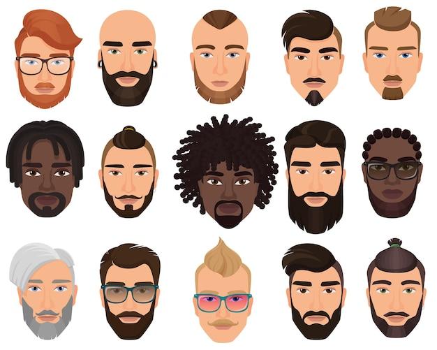 Biodrówki stylowe brodaty mężczyźni z różnymi kolorowymi fryzurami, wąsami, brodami na białym tle.
