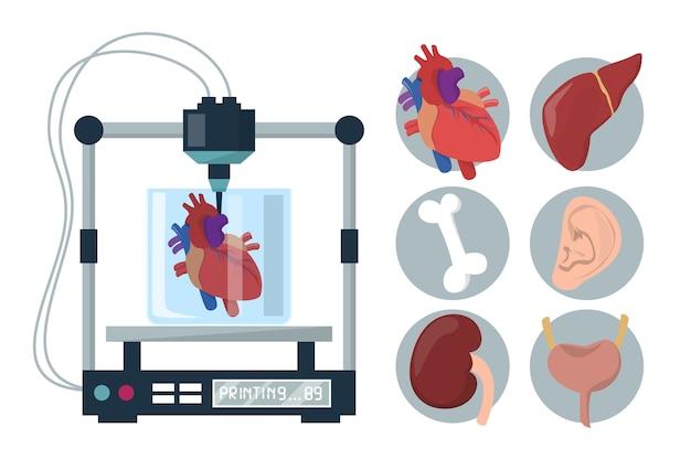 Biodrukowanie 3d na białym tle. sprzęt medyczny do rekonstrukcji narządów. replikuj urządzenie w służbie zdrowia, nauce i biologii. zduplikuj komórki i zrób ludzki implant. serce, wątroba, nerki.