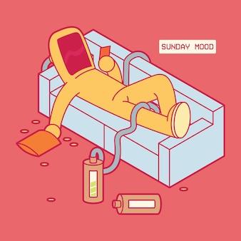 Biohazard man in couch illustration. kwarantanna, bezpieczeństwo, dom, koncepcja projektu medycznego