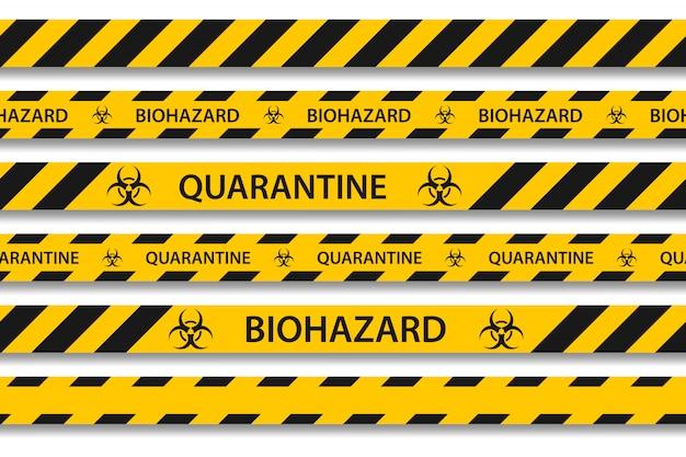 Biohazard niebezpieczeństwo żółta czarna taśma ustawia odosobnionego. zrazikowy pandemiczny koronawirus covid-19