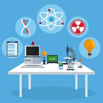 Biologia sprzęt laboratoryjny stołu roboczego