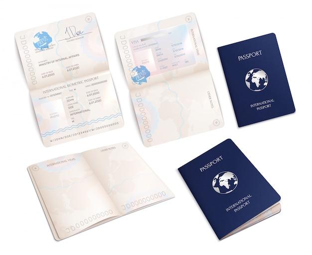 Biometryczne makiety międzynarodowego paszportu w otwartych i zamkniętych formularzach realistyczny zestaw na białym tle