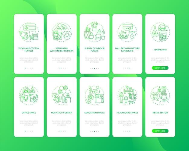 Biophilia green onboarding ekran strony aplikacji mobilnej z koncepcjami
