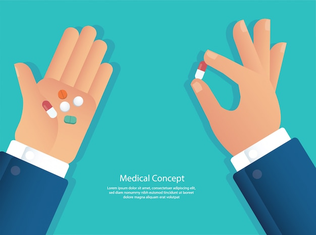 Biorąc pigułki koncepcji medycznej