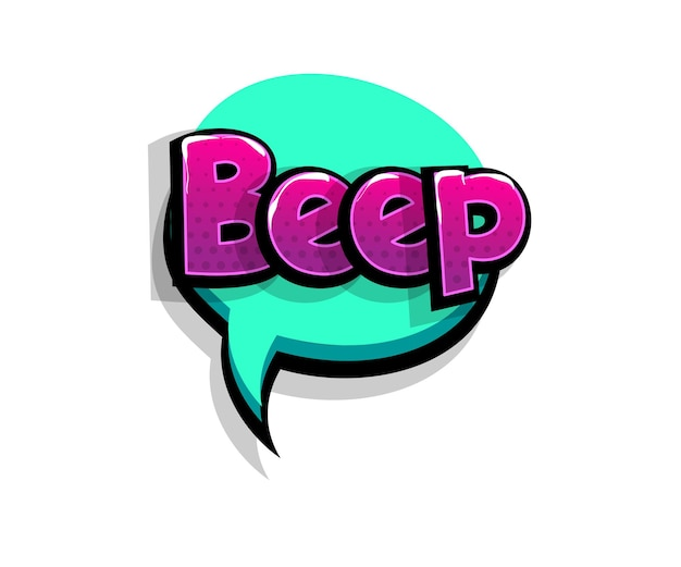 Bip napis, sygnał dźwiękowy. tekst komiksowy pop-art