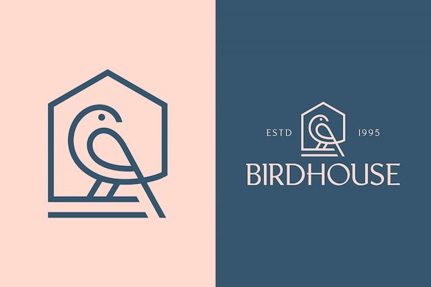Birdhouse, Luksusowa Minimalistyczna Geometryczna Czcionka Bezszeryfowa I Zestaw Logo Premium Wektorów