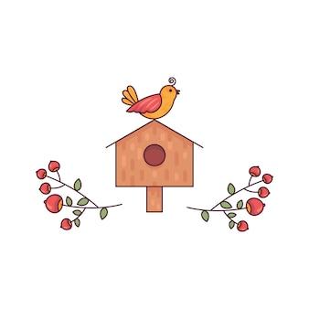 Birdhouse z pięknymi gałąź śliczna płaska linia