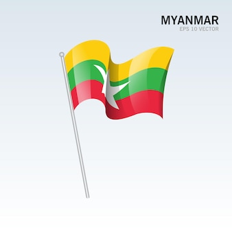 Birma macha flagą odizolowaną na szaro