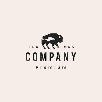 Bison buffalo liść naturalny hipster vintage logo wektor ikona ilustracja