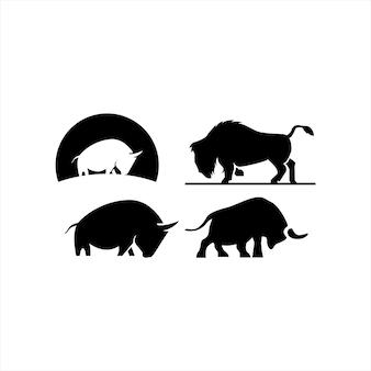 Bison bull buffalo angus sylwetka stek vintage retro projekt logo