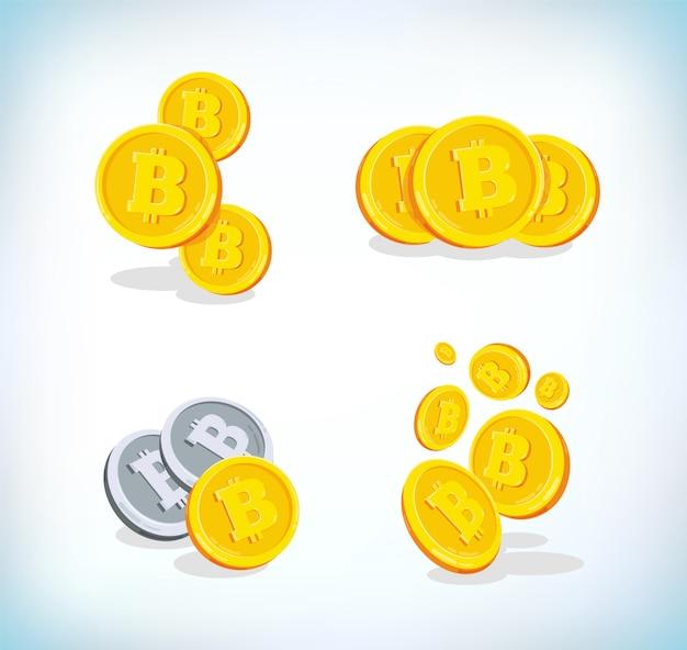 Bitcoin bitowa kreskówka 2d. waluta cyfrowa. kryptowaluta.