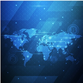 Bitcoin crypto waluty technologii światowej mapy tła ilustracja