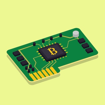 Bitcoin cryptomining hardware chip flat design