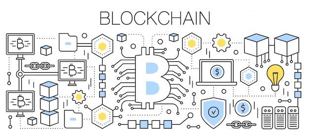 Bitcoin, kryptowaluta i technologia blockchain. znak bitcoin podłączony do globalnej sieci. ilustracja linii.