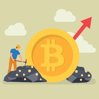 Bitcoin mining technology tiny people character
