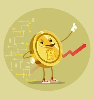 Bitcoin na białym tle charakter. ilustracja kreskówka płaska